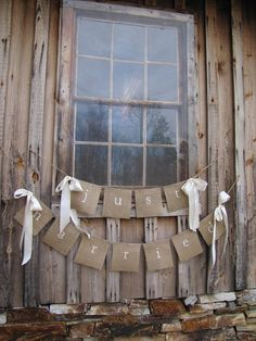 JUST MARRIED Lowercase White Glittered Burlap by funkyshique, $44.00