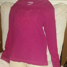DANSKIN NOW ACTIVE TEE SZ XL Super cool long sleeve pink with darker stripe and really cool graphics on front. Thanks for visiting my closet! Come again soon! Make me an offer! I love offers! DANSKIN NOW Tops Tees - Long Sleeve
