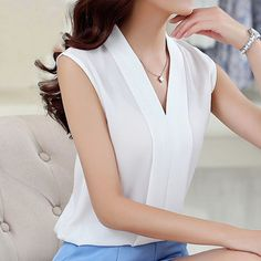 Women Chiffon Blouse Sexy Sleeveless V neck 2017 Spring Summer Woman Blouse Casual Office Lady Solid Top Female Shirt White Shirts Women, Blouses For Women, Ladies Blouses, Plus Size Womens Clothing, Plus Size Outfits, Female Clothing, Size Clothing, Golf Clothing, Clothing Hacks