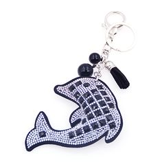 2015 Fashion Charm Rhinestone leather Dolphins Tassel Pendant keychain alloy bag Key ring Holder for Women Gift Souvenir Jewelry