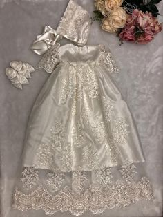This is a handmade beautiful baptism gown and matching bonnet hat. Baby Christening Gowns, Baptism Gown, Christening Outfit, Baby Girl Christening, Baptism Outfit, Baby Girl Dresses, Baby Dress, Baby Blessing Dress, Angel Gowns