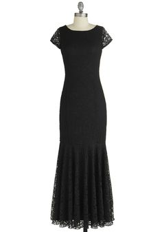 Velvet Rope Ready Dress - Black, Solid, Special Occasion, Cap Sleeves, Better, Scoop, Woven, Long, Lace