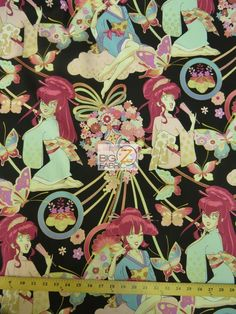 100% #Cotton Fabric By #AlexanderHenry / #Asian Miss Butterfly Black / Sold By The Yard