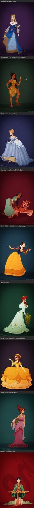 Disney princesses in accurate period costume.