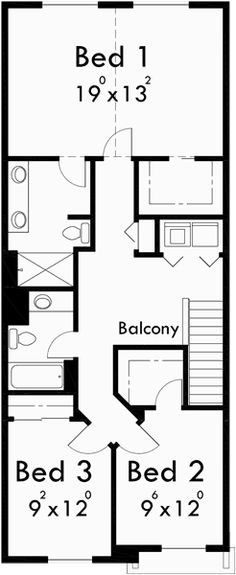 Upper Floor Plan for 10105 Narrow lot house plans, small house plans with garage, 3 bedroom house plans, 20 ft wide house plans, 10105