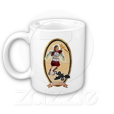 """St. Michael the archangel mug with the traditional """"prayer"""" on the back."""