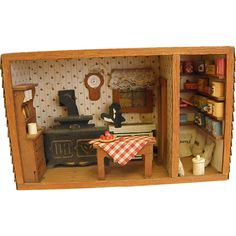 Antique Minaiture Wooden Diorama of Country Kitchen and Pantry