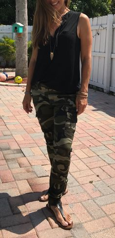 Stylish camo pants that go with EVERYTHING. One of 10 different ways I can dress these pants up.