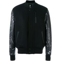 Marcelo Burlon County Of Milan 'Fagnano' bomber jacket ($750) ❤ liked on Polyvore featuring men's fashion, men's clothing, men's outerwear, men's jackets, black, mens leopard print jacket, mens leather bomber jacket, mens leather jackets and mens leather flight jacket