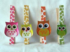 Fun Owl Clothespin Clip Magnets  Set of 4 by OneMoreSunshine, $6.00