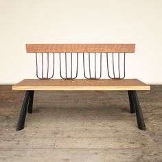 """""""Painted Pitchfork Bench""""  Wood Bench  Created by Brad Smith   www.artfulhome.com"""