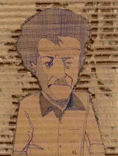 kurt vonnegut11 Discard(board) Portraits in cardboard art  with wall art Upcycled Reused Portrait Cardboard