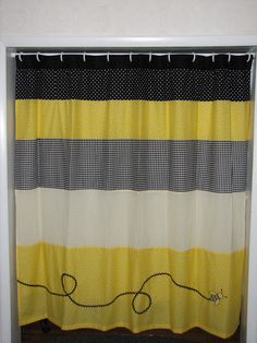 Bumble Bee Curtains | Yellow and Black Bumble Bee Curtain by GiulianaDesign on Etsy Preschool Classroom Decor, Classroom Design, Classroom Themes, Future Classroom, Black Bumble Bee, Bumble Bees, Classroom Curtains, Bumble Bee Decorations, Yellow Shower Curtains