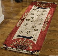 Folk Crow Hooked Rug Runner from Country Porch.