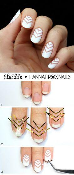 nail art diy * nail art ` nail art designs ` nail art videos ` nail art designs for winter ` nail art winter ` nail art designs easy ` nail art summer ` nail art diy Chevron Nail Designs, Chevron Nails, Simple Nail Art Designs, Easy Designs, Nail Stripes, White Nail Designs, Tape Nail Designs, Art Simple, Cheetah Nails