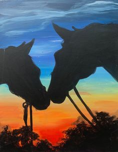 Sunset Horses Paint And Sip, Cute Pictures, Moose Art, Cute Animals, Paintings, Horses, Sunset, Drawings, Crafts