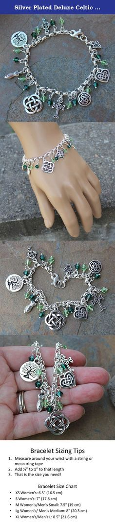 Silver Plated Deluxe Celtic Knots Charm Bracelet, Heavy Sterling Silver Chain, Green Crystals- Size L (8 Inches (Large)). This handmade deluxe Celtic symbols charm bracelet features emerald and peridot green Swarovski crystals and 8 Celtic symbols: 2 four cornered Celtic knots, a tree of life, 2 Celtic crosses, triquetra, heart and spiral goddess. Between each charm we've hung Swarovski crystals strung on sterling silver ball headpins. They add a pop of color and sparkle to the bracelet…