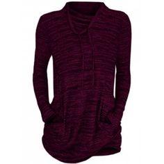 Women Cowl Neck Long Sleeve Pocket Casual Tunic Sweatshirts T-shirt Shirt Collar Styles, Blouse Styles, Summer Winter, Fashion Seasons, 1 Piece, Cowl Neck, Colorful Shirts, Tunic, Pocket