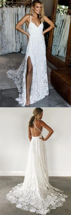 Spaghetti Straps Lace Criss-Cross Straps Wedding Dresses With Sweep Train PW179 #Spaghettistraps #Lace #Crisscross #Sweeptrain