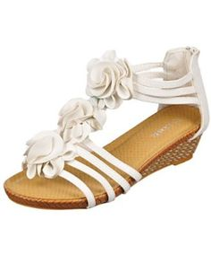 """Link """"Shayla"""" Wedge Sandals (Girls Youth Sizes 9 - 4) - white, 4 young Link. $14.99"""