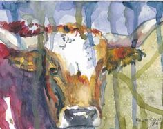 Texas Longhorn Cattle Acrylic Painting Print by Maure by twopoots