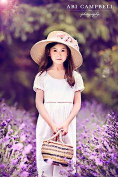 purple flowers girls portrait shoot