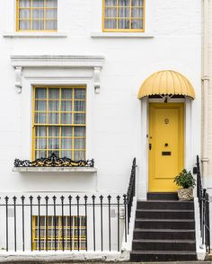 Yellow door in Kensington, London