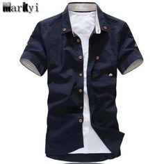 67214e9e1165 MarKyi plus size mushroom embroidery mens short sleeve casual shirts  fashion 2017 new summer cotton shirts men social
