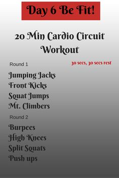 Day 6 Be Fit! It's Day 6! Have you been keeping up? I'm challenging you this weekend with this 20 min Cardio workout. Don't give up! You got this!