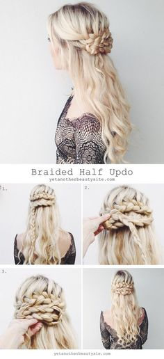 Braided half updo on yetanotherbeautysite.com.