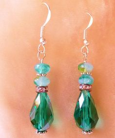 Swarovski #pnmbrandjewelry #Emerald Crystal Earrings Beaded Gift for by RomanticallyVintage