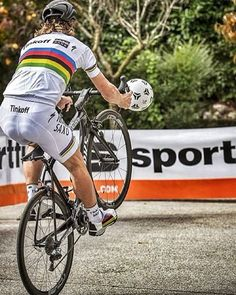Peter Sagan tries some cycle-football at the sportful headquarters