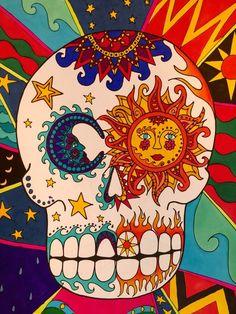 Calavera Mexican Sugar Skull Coloring Book Art