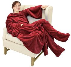 Catalonia Wearable Fleece Blanket with Sleeves & Foot Pockets for Adult Women Men, Micro Plush Comfy Wrap Sleeved Throw Blanket Robe Large x California King Bed Frame, California King Bedding, Stay Warm, Warm And Cozy, Snuggle Blanket, Wearable Blanket, Best Mattress, Snuggles