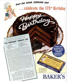 Dying for Chocolate: Happy Anniversary: 175 Year Anniversary Chocolate Cake *recipe on site* Retro Recipes, Old Recipes, Vintage Recipes, Cake Recipes, Recipies, Bakers Chocolate, Chocolate Recipes, Chocolate Cake, Cooking Chocolate