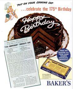 Baker's Chocolate 175th Anniversary advert