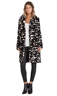 jocelyn Camouflage Shawl Collar Rabbit Fur Coat in Beige Combo