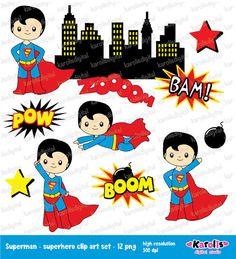 Superman - superheroes - clip art set - superhero Personal & commercial use Superman Clipart, Marine Day, Comic Villains, Star Comics, Composition Design, Invitation Paper, Superhero Party, Digital Collage, Collage Sheet
