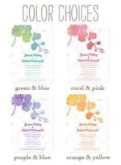 Seed Paper is Cool! #flowers Plantable Watercolor Orchids Wedding Invitations