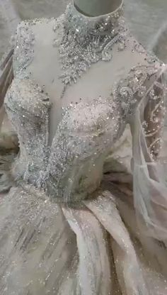High-quality lantern Sleeve high neck crystal beaded Bridal Dress - Women's style: Patterns of sustainability Fancy Wedding Dresses, Pretty Prom Dresses, Luxury Wedding Dress, Princess Wedding Dresses, Ball Dresses, Bridal Dresses, Wedding Gowns, Elegant Dresses, Sexy Dresses