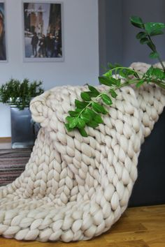 Chunky Blanket Throw Blanket Sofa Throw Knitting by Merrisson