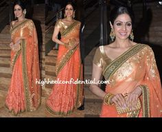 Sridevi in a Beautiful #Sabyasachi #Saree Ensemble (she completes her look with a gajra and big jhumkas earrings) at Jai Maharashtra TV Channel Launch, April 26, 13 http://www.sabyasachi.com/