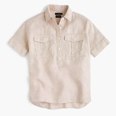 J.Crew Womens Petite Short-Sleeve Popover In Striped Irish Linen (Size 10 Petite)