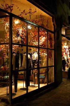 boutique.  kristina chura.very pretty fall window @madisonavenuecloseouts.com