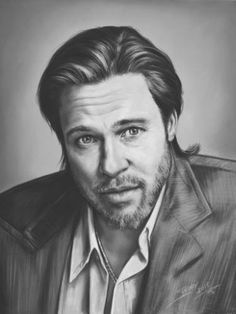 "Saatchi Art Artist TEODOR BOZHINOV; Drawing, ""Portrait of Brad Pitt"" #art"