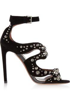 Crystal-embellished suede sandalsby Alaïa