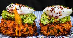 [960x960] Sweet Potato Rosti topped with Avocado and Poached Eggs