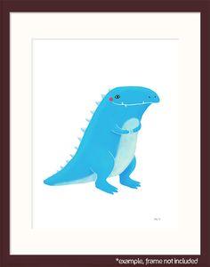 dinosaur nursery art cute blue tyrannosaurus rex on by lulufroot, $30.00