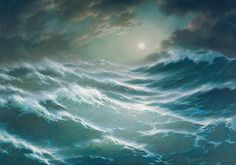 """"""" by George Dmitriev. Seascape Paintings, Landscape Paintings, Stürmische See, Sea Waves, Ocean Beach, Beautiful Beaches, Painting Inspiration, Surfing, Fine Art"""