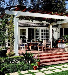 White And Dark Brown Pergola With Very Closer Overhead